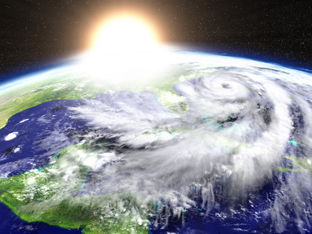catastrophic: Sun setting as hurricane Matthew is approaching Florida in America. 3D illustration.