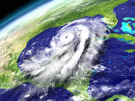 catastrophic: Spectacular view from space with enormous hurricane Matthew heading towards Florida in America. 3D illustration.