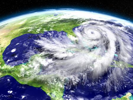 Huge hurricane seen from Earths orbit above Florida in America. 3D illustration.