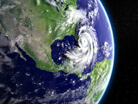 catastrophic: Disastrous hurricane Matthew viewed from space. 3D illustration.