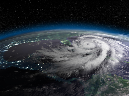 catastrophic: Night on Earth from space with huge hurricane in Caribbean. 3D illustration.