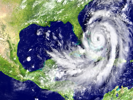 Rampzalige orkaan Matthew op kustlijn Florida. 3D-afbeelding. Stockfoto