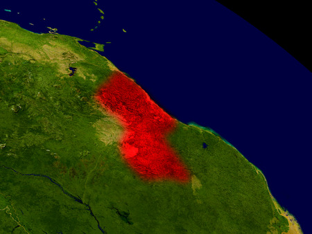 Guyana from space in red. 3D illustration with highly detailed realistic planet surface. 스톡 콘텐츠