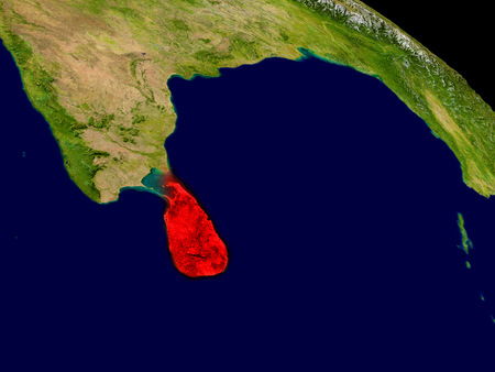 socialist: Sri Lanka from space in red. 3D illustration with highly detailed realistic planet surface.