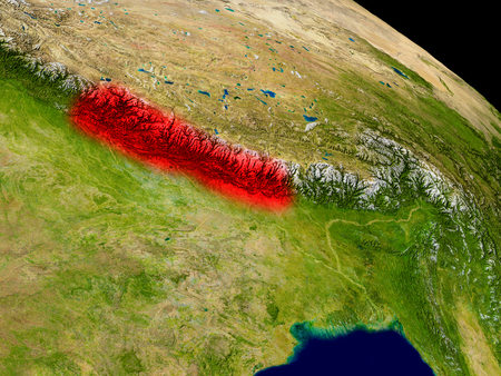 Nepal from space in red. 3D illustration with highly detailed realistic planet surface.