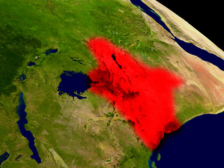 physical geography: Kenya from space in red. 3D illustration with highly detailed realistic planet surface.