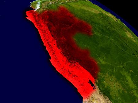 Perú desde el espacio en rojo. Ilustración 3D con superficie del planeta realista muy detallada.