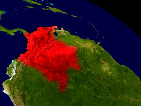 Colombia from space in red. 3D illustration with highly detailed realistic planet surface.