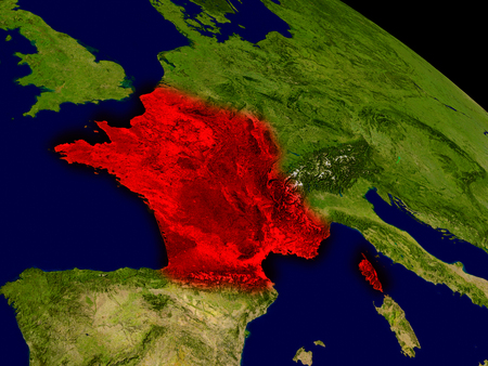 francaise: France from space in red. 3D illustration with highly detailed realistic planet surface. Stock Photo