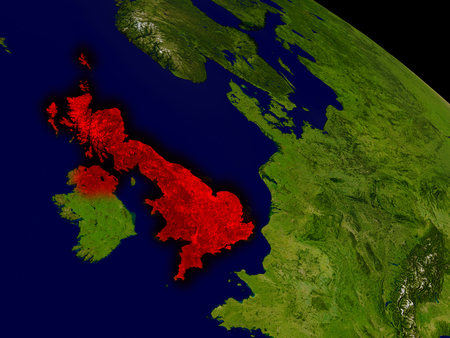 briton: United Kingdom from space in red. 3D illustration with highly detailed realistic planet surface. Stock Photo