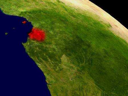 Equatorial Guinea from space in red. 3D illustration with highly detailed realistic planet surface.