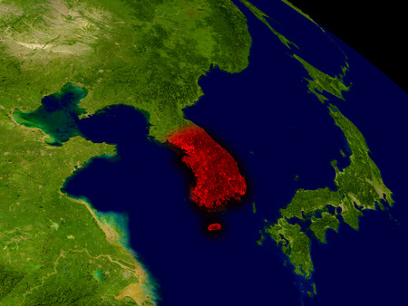 south asian: South Korea from space in red. 3D illustration with highly detailed realistic planet surface. Stock Photo