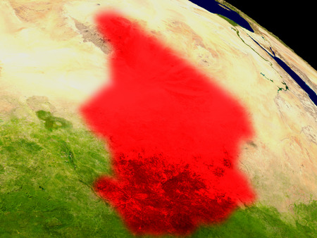 chadian: Chad from space in red. 3D illustration with highly detailed realistic planet surface.