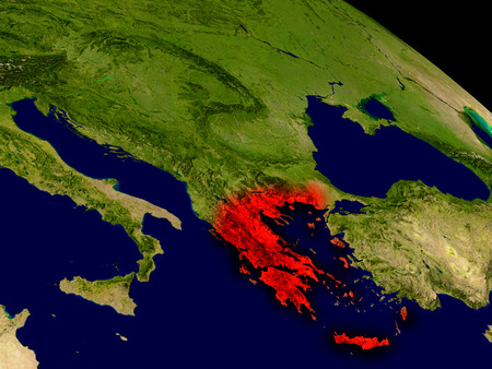 ellada: Greece from space in red. 3D illustration with highly detailed realistic planet surface.