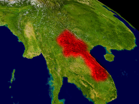 Laos from space in red. 3D illustration with highly detailed realistic planet surface.
