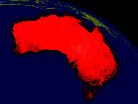 aussie: Australia from space in red. 3D illustration with highly detailed realistic planet surface.