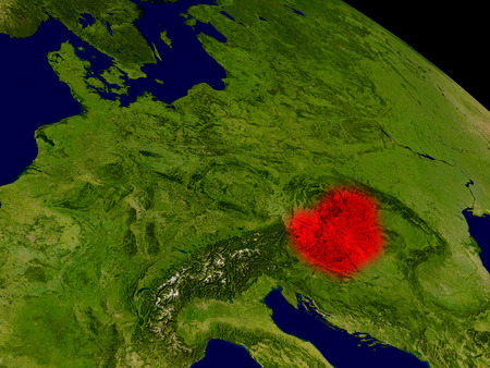 magyar: Hungary from space in red. 3D illustration with highly detailed realistic planet surface.