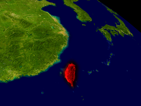 taiwanese: Taiwan from space in red. 3D illustration with highly detailed realistic planet surface.
