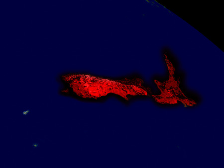 aotearoa: New Zealand from space in red. 3D illustration with highly detailed realistic planet surface. Stock Photo