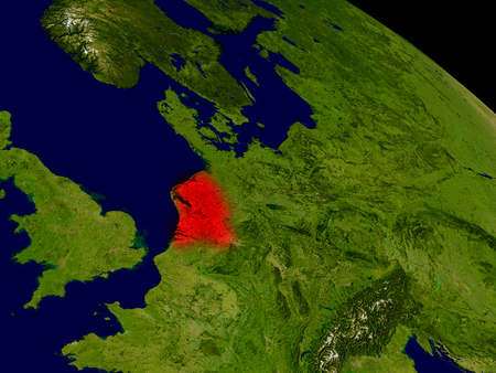 nederland: Netherlands from space in red. 3D illustration with highly detailed realistic planet surface. Stock Photo
