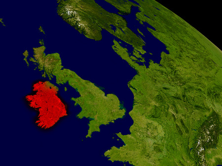 eire: Ireland from space in red. 3D illustration with highly detailed realistic planet surface. Stock Photo