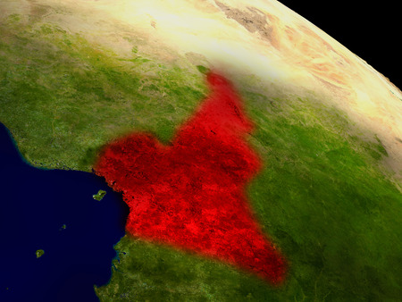 cameroonian: Cameroon from space in red. 3D illustration with highly detailed realistic planet surface. Stock Photo