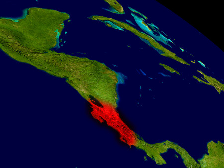 Costa Rica from space in red. 3D illustration with highly detailed realistic planet surface.
