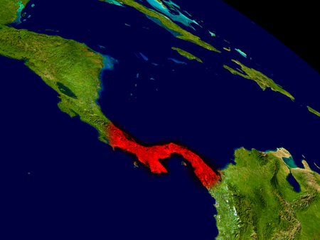 panamanian: Panama from space in red. 3D illustration with highly detailed realistic planet surface.
