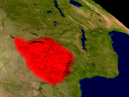 Zimbabwe from space in red. 3D illustration with highly detailed realistic planet surface. Stock Photo