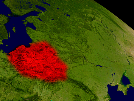physical geography: Poland from space in red. 3D illustration with highly detailed realistic planet surface. Stock Photo
