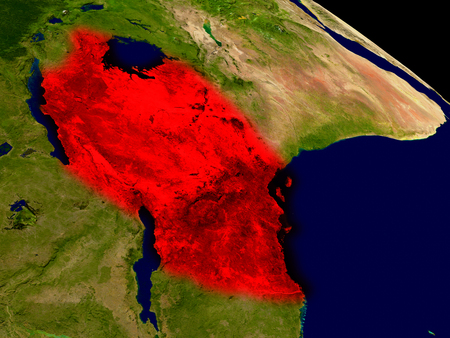 Tanzania from space in red. 3D illustration with highly detailed realistic planet surface.