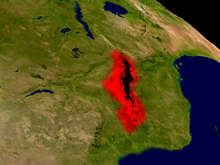 malawian: Malawi from space in red. 3D illustration with highly detailed realistic planet surface. Stock Photo