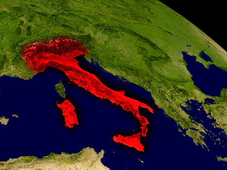 italia: Italy from space in red. 3D illustration with highly detailed realistic planet surface. Stock Photo