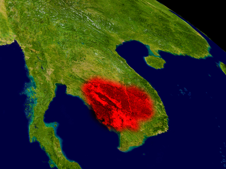cambodian: Cambodia from space in red. 3D illustration with highly detailed realistic planet surface.