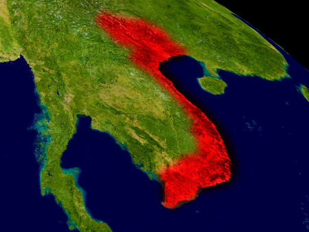 Vietnam from space in red. 3D illustration with highly detailed realistic planet surface.