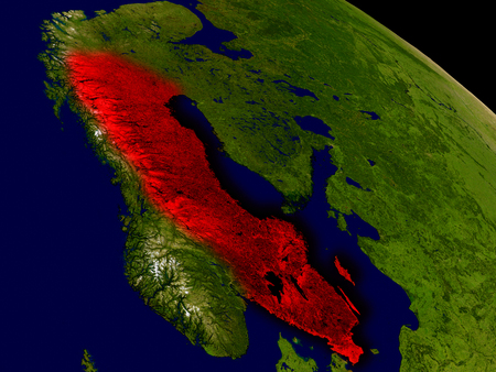 sverige: Sweden from space in red. 3D illustration with highly detailed realistic planet surface.