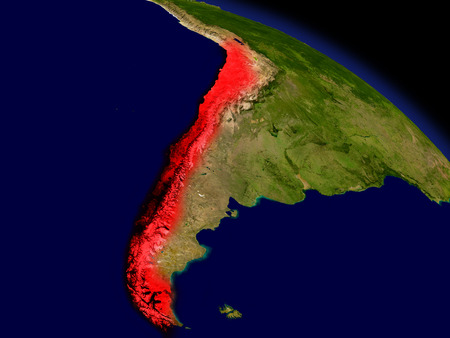 chilean: Chile from space in red. 3D illustration with highly detailed realistic planet surface. Stock Photo