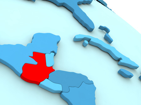 3D illustration of Guatemala highlighted in red color on blue globe