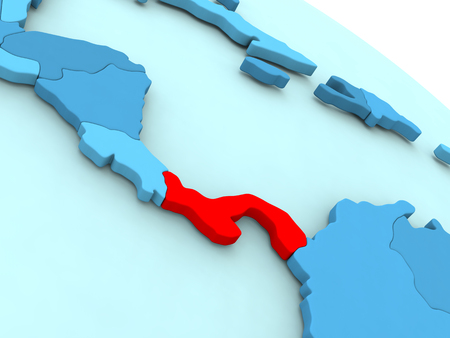 panamanian: 3D illustration of Panama highlighted in red color on blue globe Stock Photo