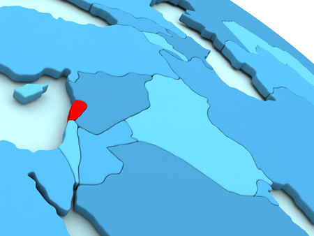 lebanese: 3D illustration of Lebanon highlighted in red color on blue globe Stock Photo