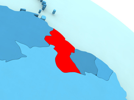guyanese: 3D illustration of Guyana highlighted in red color on blue globe