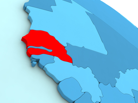 3D illustration of Senegal highlighted in red color on blue globe Stock Photo