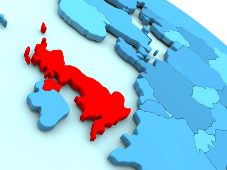 3D illustration of United Kingdom highlighted in red color on blue globe