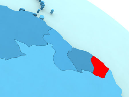 guiana: 3D illustration of French Guiana highlighted in red color on blue globe Stock Photo