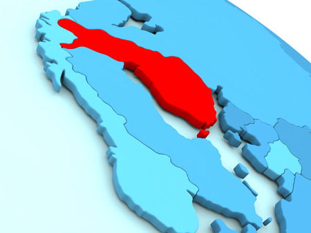 suomi: 3D illustration of Finland highlighted in red color on blue globe Stock Photo