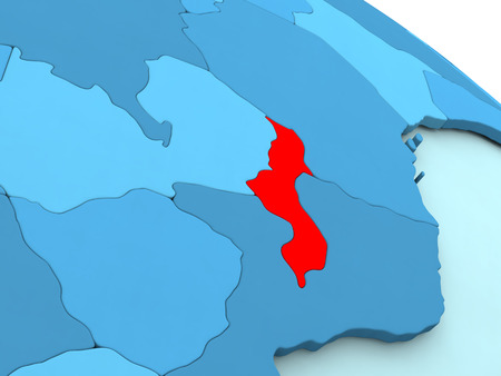 malawian: 3D illustration of Malawi highlighted in red color on blue globe
