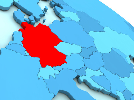 deutschland: 3D illustration of Germany highlighted in red color on blue globe Stock Photo