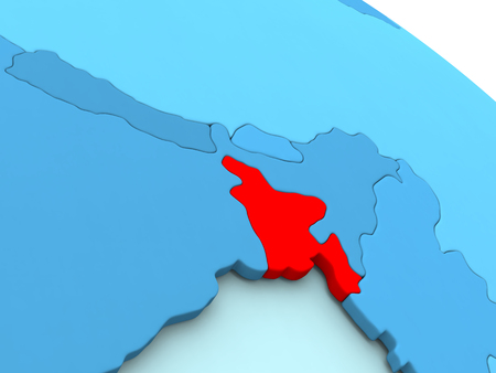 diplomacy: 3D illustration of Bangladesh highlighted in red color on blue globe