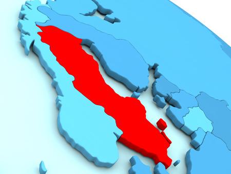 3D illustration of Sweden highlighted in red color on blue globe