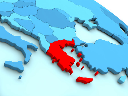 3D illustration of Greece highlighted in red color on blue globe